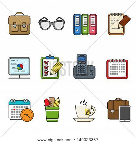 Vector business icons set. Color outlined icon collection.