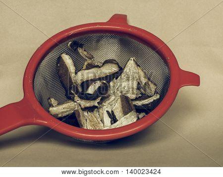 Porcini Mushroom In Colander Vintage Desaturated