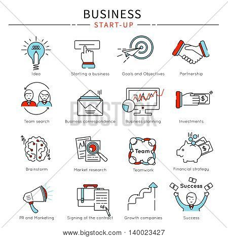 Startup business line icon set with descriptions of idea partnership team search brainstorm investment vector illustration