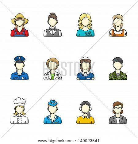 Women icons. Set of different female professions. Vector illustration. Color outlined icon collection.