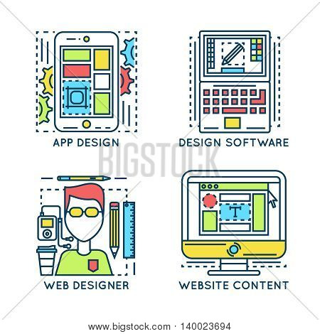 Web design linear compositions with software application webpage content portrait of specialist isolated vector illustration