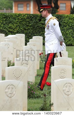 Prince Harry in the Commonwealth War Cemetery in Cassino during his visit to Italy on 18/05/2014