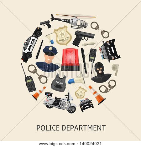 Round police composition with colored isolated icon set in big circle on beige background vector illustration