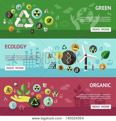 Three horizontal ecology banner set with green ecology organic descriptions and buttons vector illustration