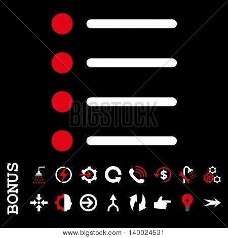 Items vector bicolor icon. Image style is a flat pictogram symbol, red and white colors, black background.