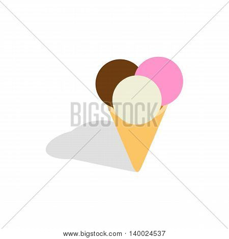 Mixed ice cream scoops in a cone icon in isometric 3d style on a white background