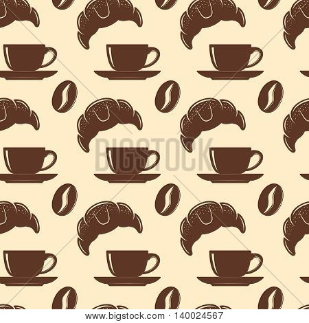 Coffee seamless background pattern with isolated brown silhouettes of coffee and croissant vector illustration