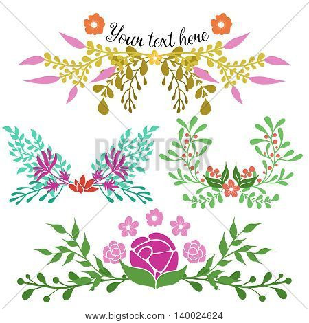 Hand drawn floral compositions of green flourish twigs and flowers in red pink colors isolated vector illustration