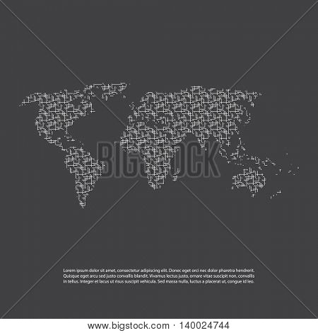 Abstract Black and White Network Patterned World Map - Minimal Modern Style Technology Background, Creative Design Illustration Template