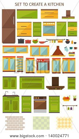 Kitchen interior elements set with household appliances utensils colored cabinets brick and checked tiles isolated vector illustration