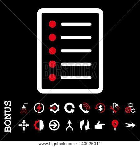 List Page vector bicolor icon. Image style is a flat pictogram symbol, red and white colors, black background.