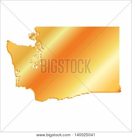 3D Washington (USA) Gold outline map with shadow