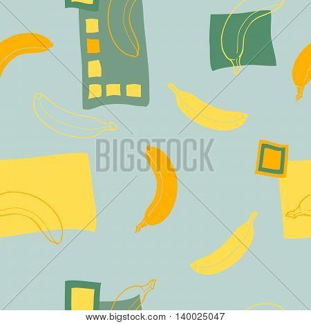 Banana seamless pattern graphic art green yellow color illustration vector