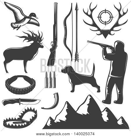 Hunting black isolated icon set methods of catching animals and hunting them vector illustration