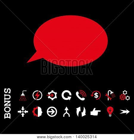 Message Cloud vector bicolor icon. Image style is a flat pictogram symbol, red and white colors, black background.