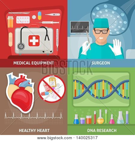 Medicine flat compositions with professional equipment surgeon at workplace healthy heart dna research isolated vector illustration