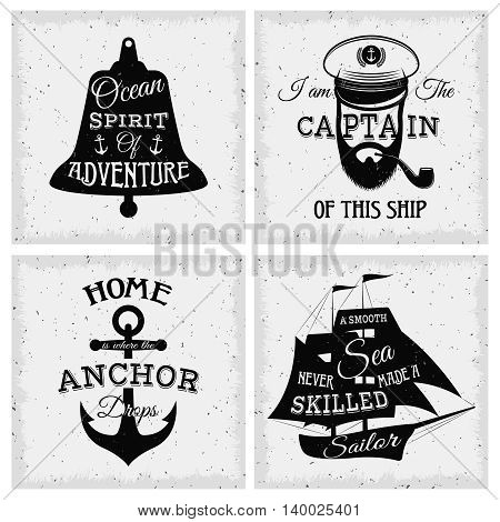 Nautical quotes compositions with inscriptions on bell sailboat anchor captain face on grunge background isolated vector illustration