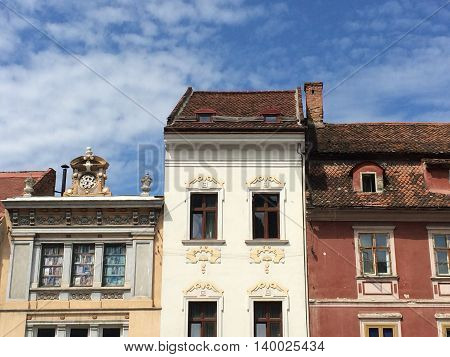 Romania, August 21, 2015, Brasov, Transylvania, The Architecture Details- the  Central Plaza Houses