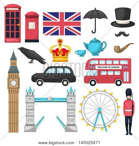 London icon set with different attraction recognizable buildings and means of transport vector illustration