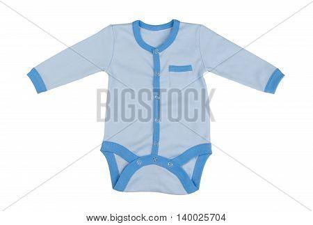 Children's blue coveralls for newborns. Isolate on white.