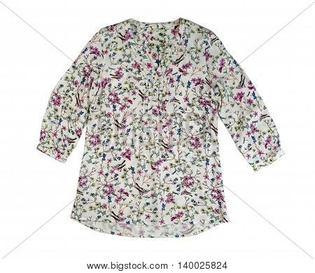 Women's blouse with a floral pattern. Isolate on white background.