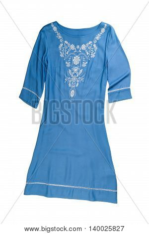 Women's blue nightgown. Isolate on white background.