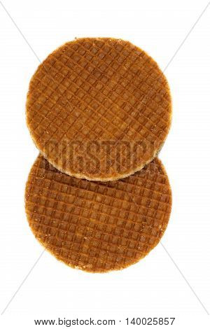Dutch waffles. Isolate on white background. snack