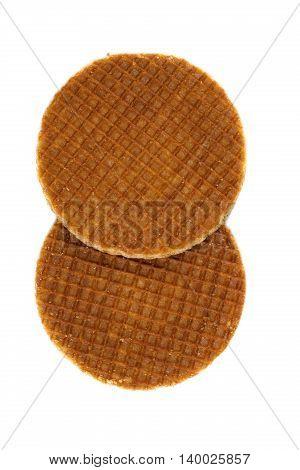 Dutch waffles. Isolate on white background. snack