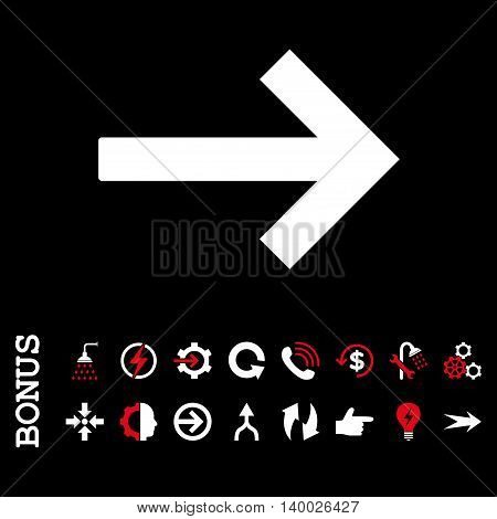 Right Arrow vector bicolor icon. Image style is a flat iconic symbol, red and white colors, black background.