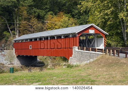 The historic Schlicher's Covered Bridge in North Whitehall Pennsylvania