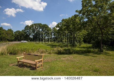 A bench to enjoy the beautiful views of Thompson Park