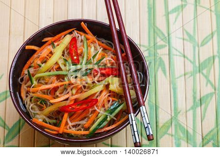 Spicy Glass Noodles With Vegetables - Carrots, Cucumber, Peppers, Garlic. Dish  Asian And Oriental C