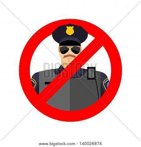 Stop Cop. It Is Forbidden By Police. Strikethrough Constabulary. Emblem Against Servants Of Law Offi