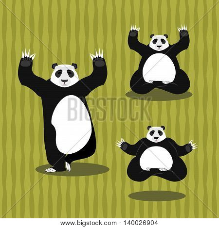Panda Yoga Meditating. Chinese Bear On Background Of Bamboo. Status Of Nirvana And Enlightenment. Lo
