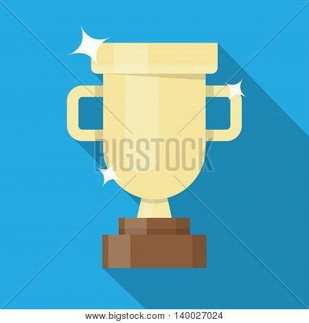 Golden winner cup. Trophy cup flat design icon with long shadow