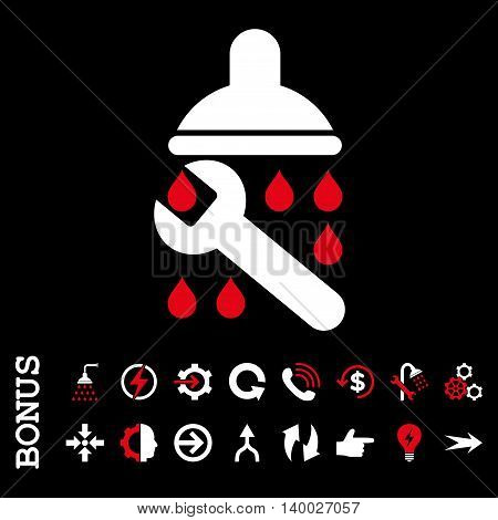 Shower Plumbing vector bicolor icon. Image style is a flat iconic symbol, red and white colors, black background.