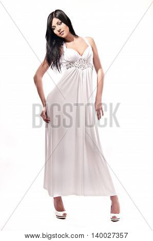beautiful fashionable woman isolated on white background
