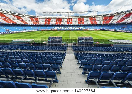 MADRID,SPAIN-MARCH 2016: at the tribune of Vicente Calderon stadium -  the official playground of FC Atletico