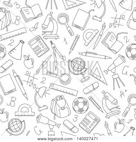 Seamless pattern on the theme of the school a simple contour icons dark outline on a light background