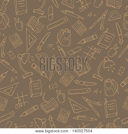 Seamless pattern on the theme of the school a simple contour icons sepia