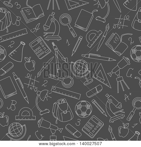Seamless pattern on the theme of the school a simple contour icons light outline on a dark background