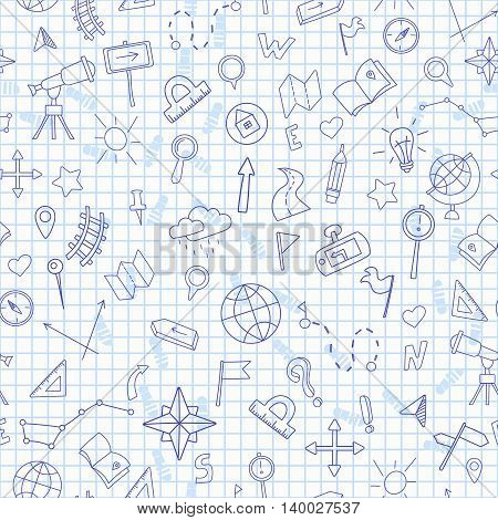 Seamless pattern with hand drawn signs on the theme of geography and travel dark blue outline on a light background in a cage