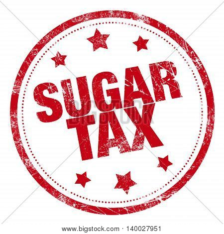 red sugar tax word stamp on white background