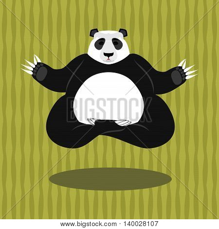 Panda Yoga. Chinese Bear On Background Of Bamboo. Status Of Nirvana And Enlightenment. Lotus Pose. W