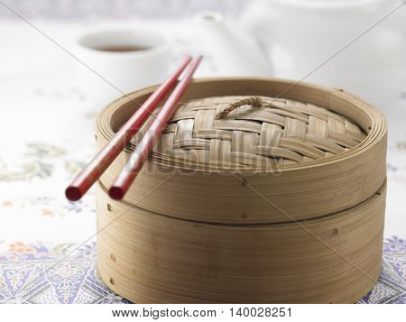 chopstick rest on the bamboo steamer for tim sum