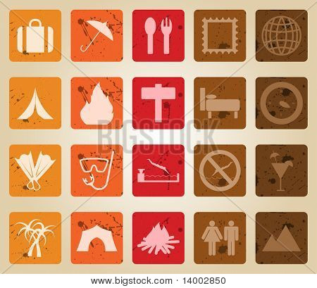 Travel set of different vector web icons. Retro style.