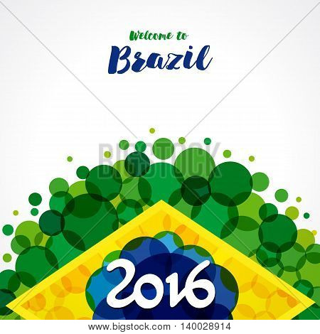 Inscription 2016 on a background watercolor stains,colors of the Brazilian flag and text welcome to Brazil. 2016 welcome to Brazil