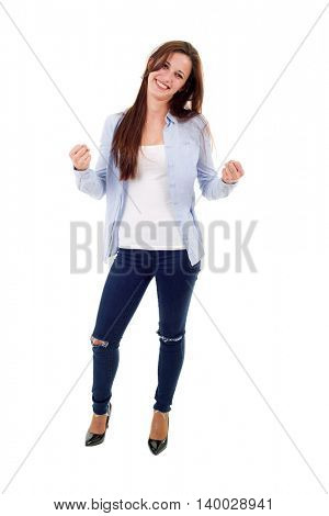 young casual woman winning, full length, isolated on white