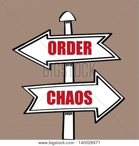 Signpost with arrows pointing in opposite directions for Order and Chaos