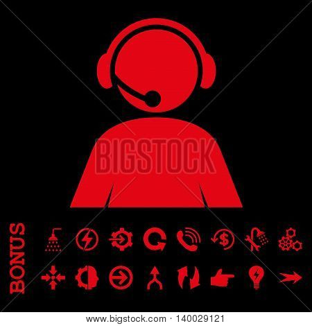 Call Center Operator vector icon. Image style is a flat iconic symbol, red color, black background.